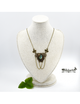 Labradorite and leaves